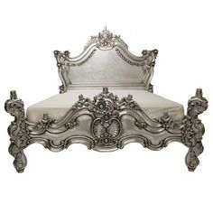 Royal Fortune Queen Bed Silver furniture, bed frame, fabulous & baroque