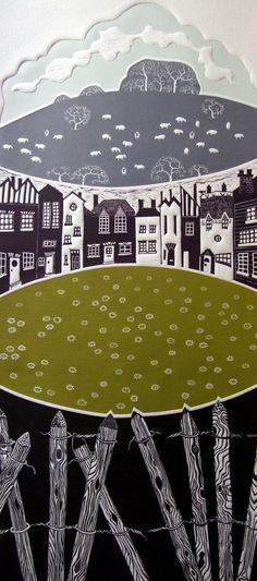 Linocut Print - Green Belt, Diana Ashdown