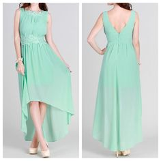 Mint high low dress