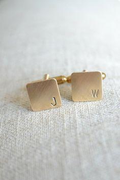 Personalized Initial Mini Cufflinks  - Hand Stamped in Brass