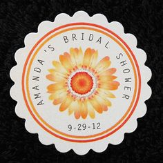 Personalized Bridal Shower Favor Tags, Set of 50 orange gerbera daisy