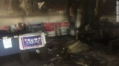 "A GOP office in Hillsborough, North Carolina, was firebombed over the weekend, with a swastika and the words ""Nazi Republicans get out of town or else"" spray painted on a nearby building. he Hillsborough Police Department said in a statement Monday that it was still processing evidence from the scene and that it was receiving assistance from the FBI, North Carolina State Bureau of Investigations and the Bureau of Alcohol, Tobacco, Firearms and Explosives."