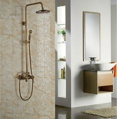 92.04$  Buy now - http://alibji.worldwells.pw/go.php?t=32574641669 - Antique Brass 8-in Rainfall Shower Set Bathroom Tub Units Single Lever Hot&Cold Faucet