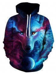 3D Trippy Wolf Print Pullover Hoodie - COLORMIX