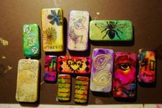 Alcohol ink domino game tiles with
