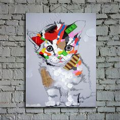 Multicolored cat oil painting on canvascute cat by ApeArtStudio