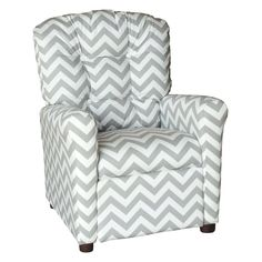 Brazil Furniture 4-Button Back Childrens Recliner - Zig Zag Pattern - 400-ZIG ZAG STORM