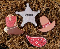 Western sheriff boot cowboy hat paisley cookies