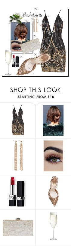 """bachelorette"" by mavihulett ❤ liked on Polyvore featuring Urban Outfitters, Aurélie Bidermann, Christian Dior, René Caovilla, Edie Parker and Crate and Barrel"