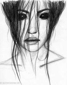 Zeichnung einer Frau mit schwarzen Augen