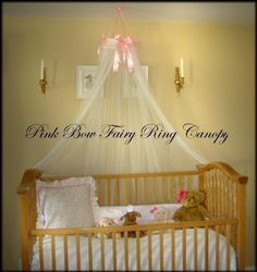 Crib Bed Princess Fairy Canopy Ring With Pink Satin Bows SHEERS Included