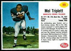 Mel Triplett 1962 Post Cereal football card