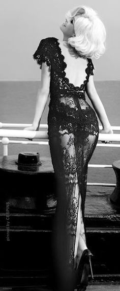 Black lace bedroom gown, hot.