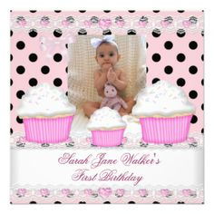 First birthday girl pink cupcakes white baby card pink cupcakes first birthday girl pink cupcakes black white baby card stopboris Image collections
