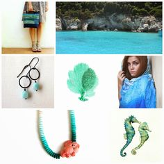 Monday MoodBoard : Aqua #blogger #aqua #blue #Summer #bag #jewelry #clay #necklace #scarf #coral #paint #gem #seahorse