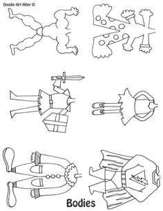 Doodle Caricatures - includes bodies, heads, noses, mouths, eyes, ears, mustaches, eyebrows, hair, hats, & accessories