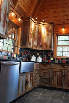 Barnwood Kitchen for Log Home - rustic - Kitchen - Other Metro - KPD Interiors