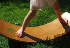 Waldorf Wooden Rocker Board Helps Kids Build Balance