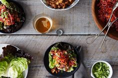 asian chicken and slaw lettuce wraps