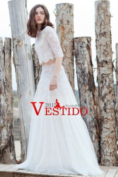2016 vestidos de boda de la cucharada del Medio Longitud de la manga de tul y encaje con apliques