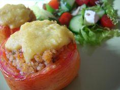 Tomate Recheado com Couscous Marroquino e Mandiokejo | Receita
