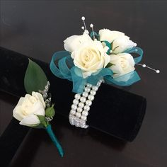 White spray rose corsage and boutonniere set Corsage And Boutonniere Set, Rose Corsage, Corsages, White Spray Roses, Bouquet, Cake, Floral Arrangements, Bouquet Of Flowers, Kuchen