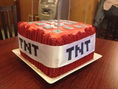 My interpretation of a Minecraft TNT birthday cake.  My kids loved it!