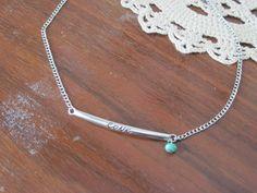 Cursive love bar pendant necklace with turquoise bead  jewelbox2u.etsy.com