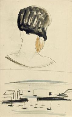 Nelly van Doesburg Viewed from behind, and a harbor scene, 1924 - Theo van Doesburg Dutch Artists, Great Artists, Theo Van Doesburg, Piet Mondrian, Art Database, Art Moderne, Sculpture, Drawing Sketches, Pencil Drawings