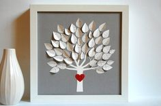 Personalized Framed Wedding Gift - 3D Song Tree - Gray - made with song lyrics, vows (Personalized wedding, anniversary or Valentine's gift) -$68.00
