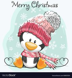 Cute Cartoon Penguin in a hat. Greeting card Cute Cartoon Penguin in a hat and scarf Royalty Free Stock Photo Hat Vector, Free Vector Art, Christmas Drawing, Christmas Art, Christmas Decoupage, Santa's Little Helper, Banner Printing, Cute Images, Winter Theme