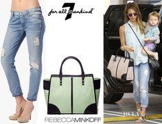 Fashion Trends: Jessica Alba's 7 For All Mankind Josefina Skinny Boyfriend Jean & Rebecca Minkoff The Sienna Tote