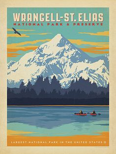 After working for more than 5 years, our National Parks series is finally complete! It's our way of celebrating the upcoming 100th Anniversary of the National Parks Service. (Happy Centennial, NPS!) You won't find such a beautiful or comprehensive collection of American National Park prints anywhere but here! Printed on gallery-grade paper, this design celebrates the majestic beauty of Wrangell-St. Elias National Park.