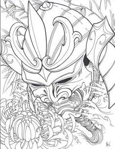 Japanese warrior mask tattoo |