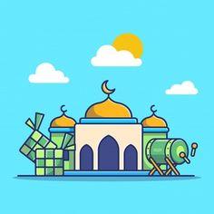 Eid Mubarak Greetings, Happy Eid Mubarak, Kids Background, Cartoon Background, Cute Illustration, Graphic Design Illustration, Mosque Vector, Building Icon, Islamic Art Calligraphy