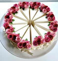 Cake box, garden, fuchsia, blossom, persimmon, paper cake.