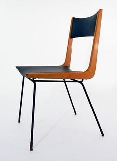 Carlo di Carli Attributed; Enameled Metal, Wood and Skai Side Chair, 1950s.