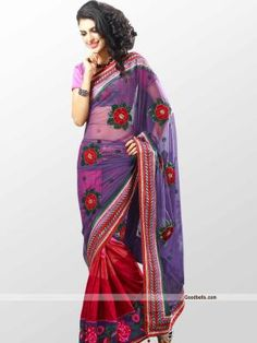 Beautiful violet and red shade saree designed with two fabrics. Shaded red skirt part with butta work net pallu seems stunning. Rich border gives it heavy look. It will look for special occasion. http://goodbells.com/saree/violet-and-red-shade-designer-saree.html?utm_source=pinterest_medium=link_campaign=pin18julyR0P493