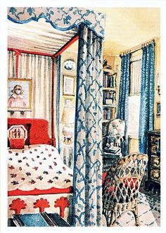 Watercolor rendering by Mark Hampton of the guest bedroom in the New York farmhouse of Keith and Chippy Irvine. circa 1980
