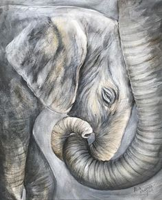 Awww, Dana Rae, you could do this! Elephant Love, Elephant Artwork, Elephant Canvas Painting, Elephant Paintings, Elephant Watercolor, Animal Paintings, Animal Drawings, Indian Paintings, Abstract Paintings
