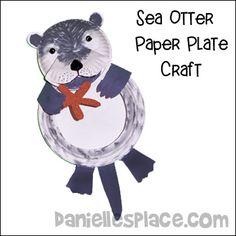Sea Otter Paper Plate Craft for Children
