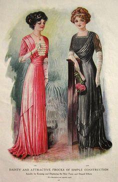 1910 fashion for women | 1910 Women's Fashion Print ~ Tunic & Draped Frocks, Antique Fashion ...