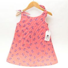 BEATRICE in red anchor stripe/blue check print - Expect Clothing Reversible 100% cotton baby dress with adjustable straps Size 2T by ExpectClothing, $54.00