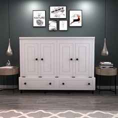 Room and Loft Rolling Queen Murphy Bed with Mattress Color: White Queen Murphy Bed, Murphy Bed Desk, Murphy Bed Plans, Murphy Furniture, Murphy Bef, Murphy Bed With Sofa, Murphy Bed Office, Modern Murphy Beds, Wood