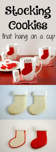 Stocking Place Card Cookies that Hang on a Cup | The Bearfoot Baker