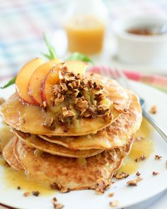Peach Cobbler Coconut Pancakes by Sonia! The Healthy Foodie Coconut Pancakes, Pancakes And Waffles, Coconut Flour, Peach Pancakes, Fluffy Pancakes, Breakfast Pancakes, Breakfast For Dinner, Breakfast Time, Brunch Recipes