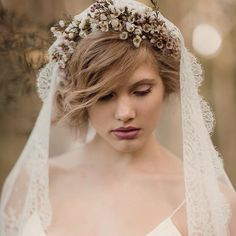 """""""Perfection! Still so in love with this cherry blossom flower crown by @leafandhoney its so beautiful when paired with our #frenchlace veils x #ruedeseine…"""""""