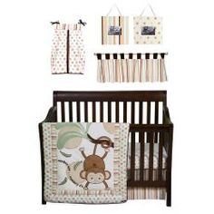@Overstock - Complete your nursery with this 7-piece Morgan the Monkey crib bedding set by Trend Lab. The set features a soft earthy palette in stripes, polka dots and a also features Morgan the Monkey embellished on the quilt to brighten your baby's day.http://www.overstock.com/Baby/Trend-Lab-Morgan-the-Monkey-7-piece-Crib-Bedding-Set/6532272/product.html?CID=214117 $108.99