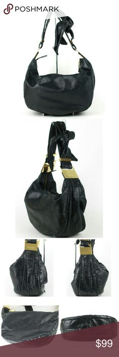 "Badgley Mischka Carina Leather Hobo bag Badgley Mischka Carina hobo bag from the Platinum Label.  MSRP $398.  Black with gold-tone hardware. Cute tie detail on double strap. Zip closure. Glazed leather has a slight factory distressed look. Measures approx 16"" x 10"" x 5.5"".  Strap drop approx 11.5"".  Great condition overall slight signs of gentle use. Hardware is scratched. Interior is excellent & very clean. Badgley Mischka Bags Hobos"