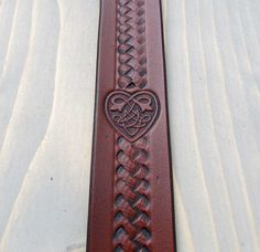 Leather Bookmark, Celtic Heart, Made in Canada by Free Spirit Leather Co